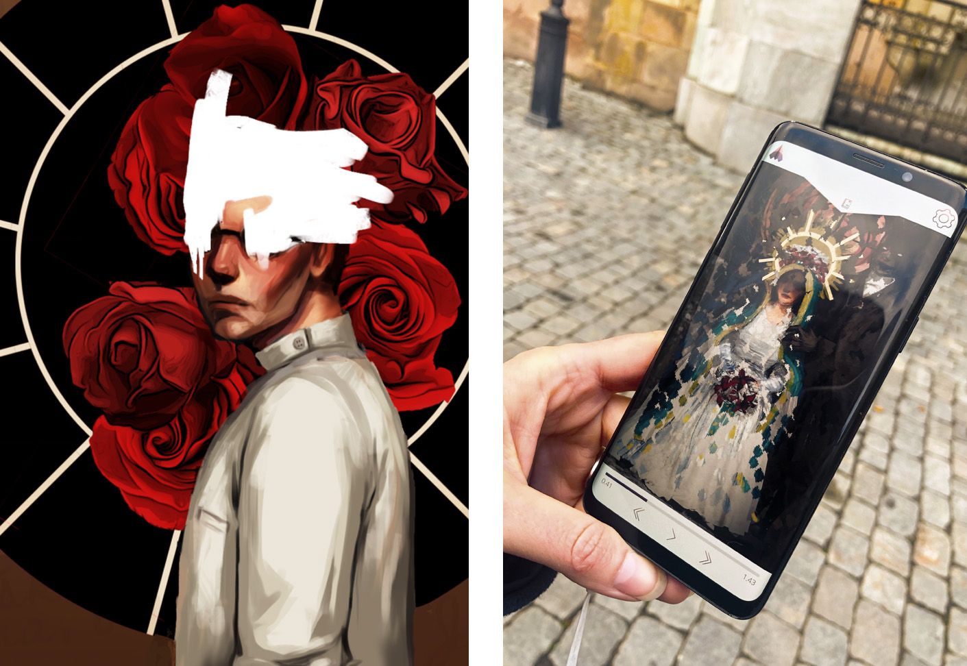 Two images, the first one is an illustration of Doctor Gabriel Glas. His face is obscured. In the second image, a person who is on a walking tour is holding a smartphone. On the screen, a puzzle is visible