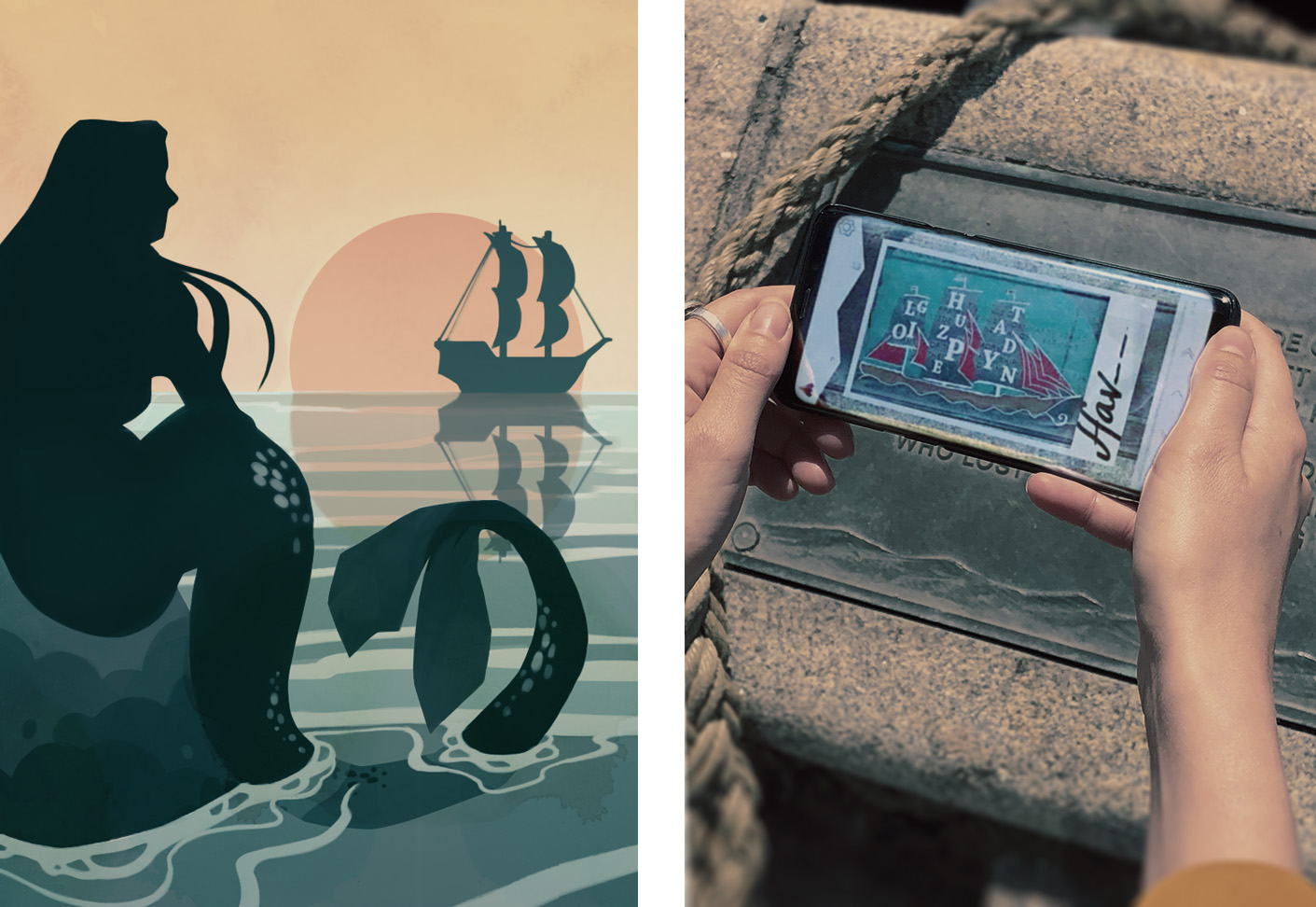 Two images, the first one is an illustration of The Little Mermaid sitting on her rock, looking out at the sea. In the second image, a person on a walking tour is holding up their smartphone. On the screen, a puzzle is visible