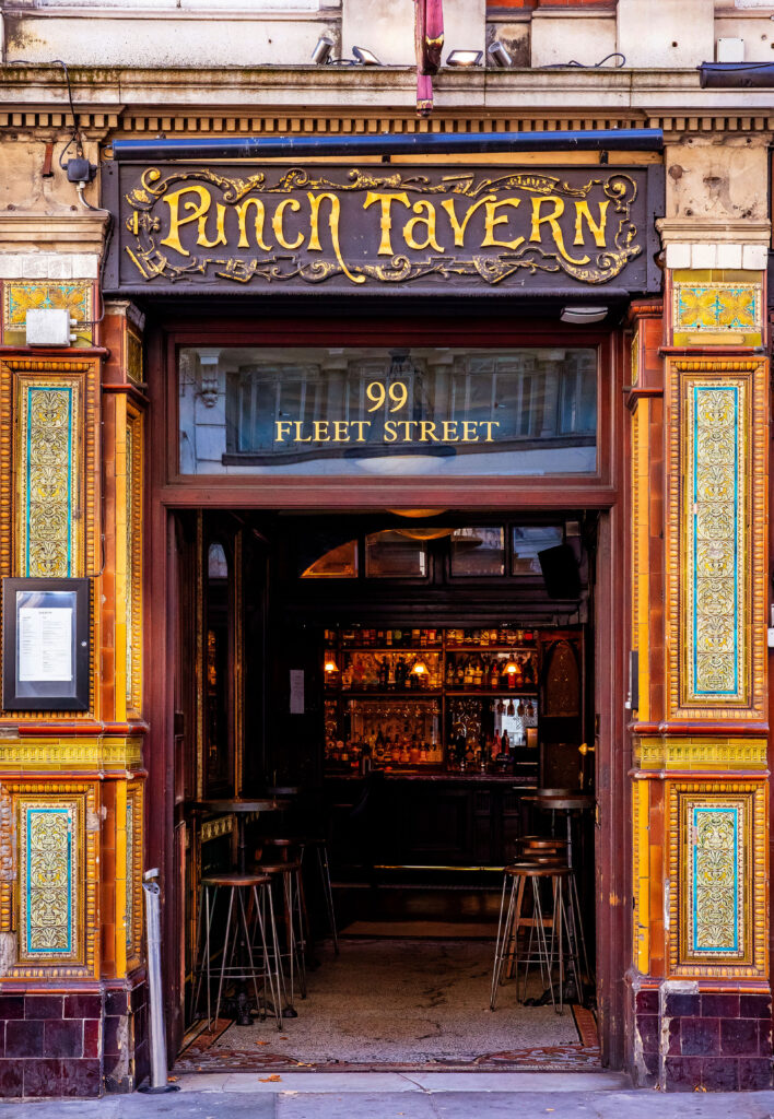 The entrance of historic London pub The Punch Tavern