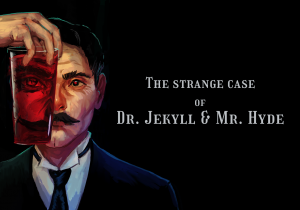 An animated image of Doctor Jekyll, on a black background. He is holding a glass with a red potion in it.